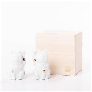 招き猫 ・白 桐箱入/フォーチュンキャット ホワイト/Floyd