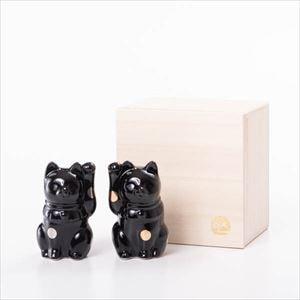 招き猫 ・黒 桐箱入/フォーチュンキャット ブラック/Floyd