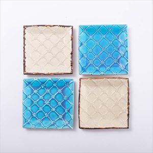 【セット】正方皿(小) いっちん格子4点 青&白 化粧箱入/やちむん/一翠窯