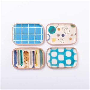 【セット】長方皿(小) 南国の風4点セット 化粧箱入/やちむん/一翠窯