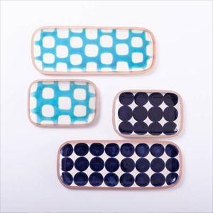 【セット】長方皿(長&小) きれいな青色ペアセット 化粧箱入/やちむん/一翠窯