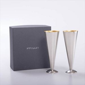 [Set] [Exclusive box] Pair Champagne flute / Tin & Gold leaf / Nousaku