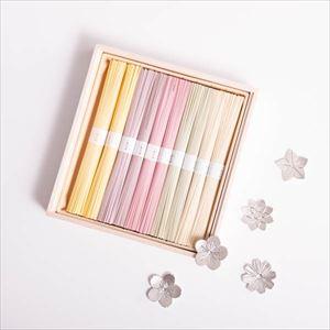 【令和を祝う梅セット】五色の素麺と五つの花ばな箸置きセット 化粧箱入