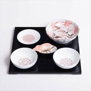【セット】和モダン紅白のお食い初めセット 切立盆付き 化粧箱入_Image_1