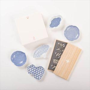【セット】幸せを運ぶ豆皿と箸置き 縁起柄と水引結びのセット(印判) 化粧箱入
