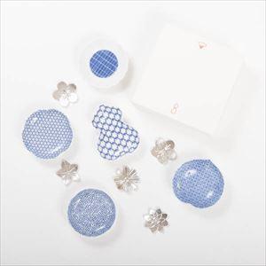 【セット】幸せを運ぶ豆皿と箸置き 美しき花ばなセット 化粧箱入