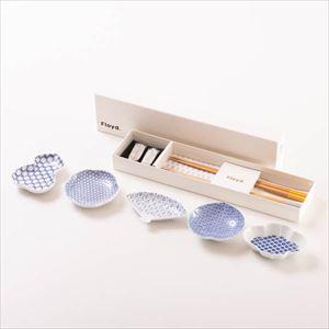 【セット】幸せを運ぶ豆皿と箸置き 縁起柄と竹矢箸セット 化粧箱入