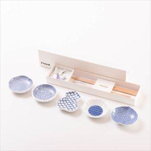【セット】幸せを運ぶ豆皿と箸置き 蝶々と花ばなセット(ホワイト&パープル) 化粧箱入