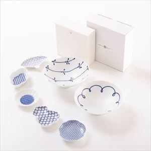 【セット】豆皿と平茶碗ペア かわいらしい北欧風セット 化粧箱入