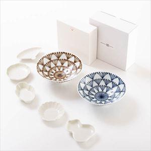 【セット】豆皿と平茶碗ペア モダンな民芸風セット 化粧箱入