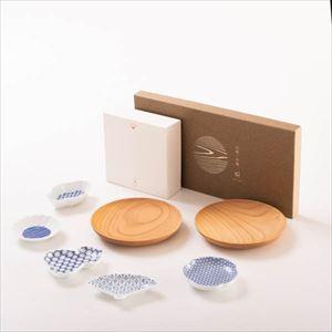 【セット】豆皿と山桜ノ木皿(取皿)のほっこりプレートセット 化粧箱入