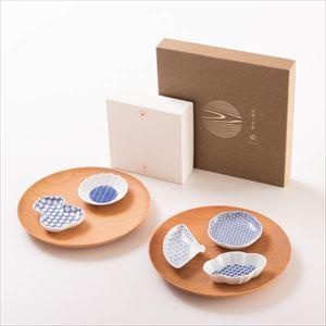 【セット】豆皿と山桜ノ木皿(中皿)のほっこりプレートセット 化粧箱入
