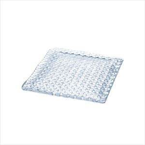 【SALE】Grid plate / Square 24cm / Glass plate / Sghr