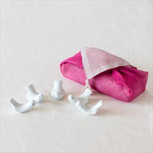 【セット】ラブバード 5羽 ピンクのハンカチ包/箸置き/白山陶器