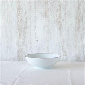 7寸平鉢 白磁千段/白山陶器