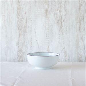 6寸浅めん丼 白磁千段/白山陶器