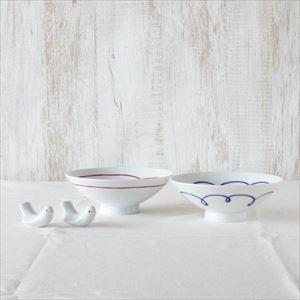 【セット】ラブバードと平茶碗ペア ブルー&レッドライン 化粧箱入/箸置きと夫婦茶碗/白山陶器