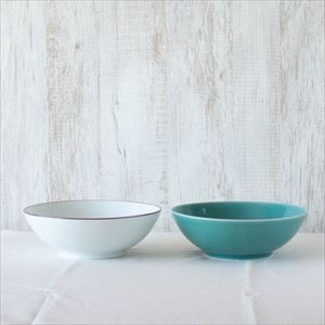 【セット】7寸平鉢ペア 白磁&青磁 化粧箱入/白山陶器