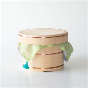 【セット】お櫃(おひつ) 五合 黄緑のふきんセット/木曽さわら