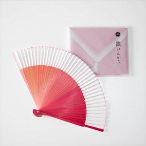 【セット】グラデーション扇子とはんかちのお出かけセット ピンク 化粧箱入